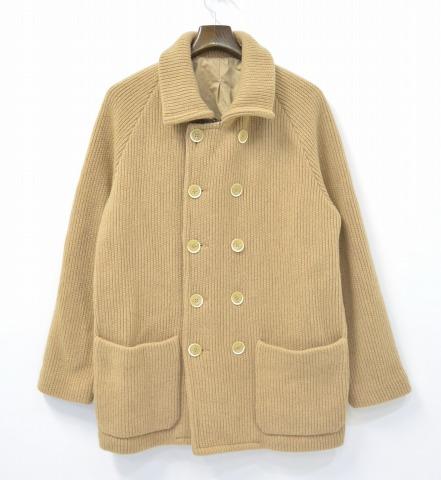 【中古】 BARENA (バレナ) ニットPコート 48 BEIGE ニットジャケット ダブルブレスト PEA COAT ピーコート