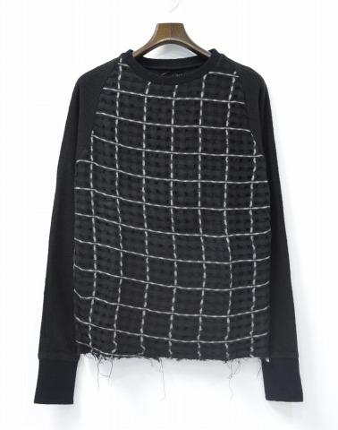 【新品】 LONG JOURNEY (ロングジャーニー) Paramesh Sweatshirt パラメッシュスウェットシャツ XS BLACK 14AW プルオーバースウェット