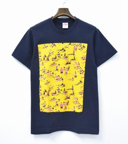 【中古】SUPREME (シュプリーム) Beach Tee ビーチTシャツ 16SS NAVY S ネイビー Logo ロゴ