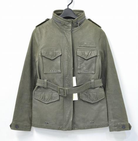 【新品同様】【訳あり】【レディース】 wjkw (ダブルジェイケーダブル) Safari Leather Jacket Grey サファリレザージャケット 36 M-65 【中古】