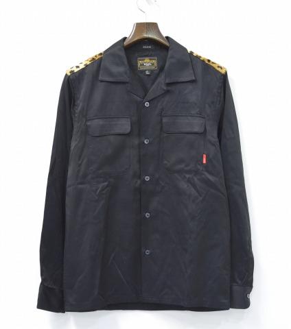 【中古】WTAPS (ダブルタップス) TEDDY L/S / SHIRTS. RACO. TWILL オープンカラーシャツ BLACK S ブラック OPEN COLLAR LEOPARD レオパード
