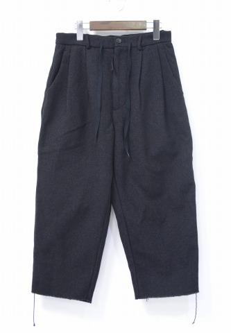 【新品】 bukht (ブフト) C/W TWEED CRPD PT コットンウールツイードクロップドパンツ 1(S) BLACK 16AW B-MB95802 COTTON WOOL TWEE CROPPED PANTS