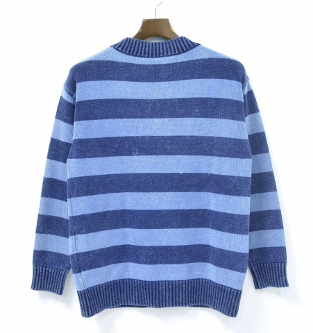 HYSTERIC GLAMOUR WOMENS X ORIGINAL BLUES (the hysteric grammar woman gap Dis X original blues) DAM/NIAGARA embroidery pullover horizontal stripe crew neck knit FREE INDIGO 16AW sweater