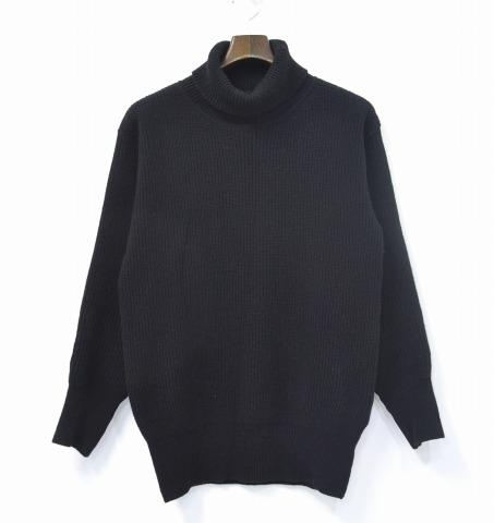 【中古】 FRANKLIN TAILORED (フランクリンテーラード) タートルネック アーミーセーター 14AW BLACK 4 ブラック Turtle Neck Army Sweater Military Knit ミリタリー ニット エルボーパッチ
