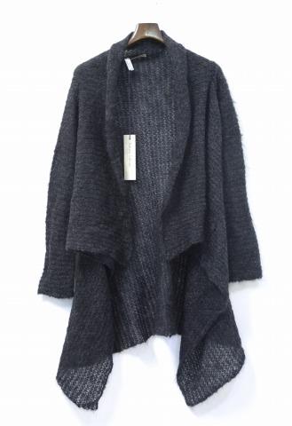 【新品】【レディース】 RABENS SALONER (レーベン サローネ) Structure knit cardigan モヘアニットカーディガン S/M CHARCOAL Mohair Long Cardigan モヘアロングカーディガン