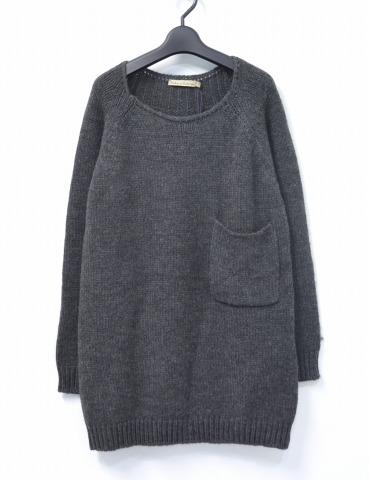 【新品】【レディース】 RABENS SALONER (レーベン サローネ) Boyfriend long pullover ボーイフレンドロングプルオーバー S CHARCOAL Low Gauge Knit ローゲージニット セーター