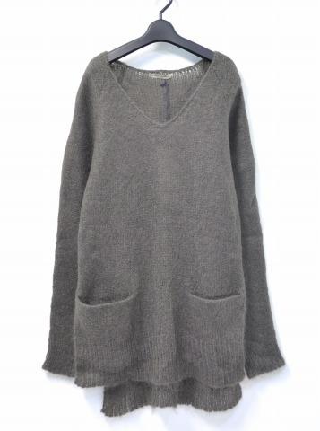 【新品】【レディース】 RABENS SALONER (レーベン サローネ) Changing Gauge V neck sweater モヘアVネックセーター S GREY 14AW KNIT ニット  ラーベンスサロナー