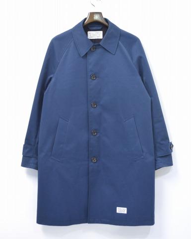 【中古】 WACKO MARIA (ワコマリア) TWILL BAL COLLAR COAT ツイルバルカラーコート M BLUE 16AW 16FW-WMO-CO09