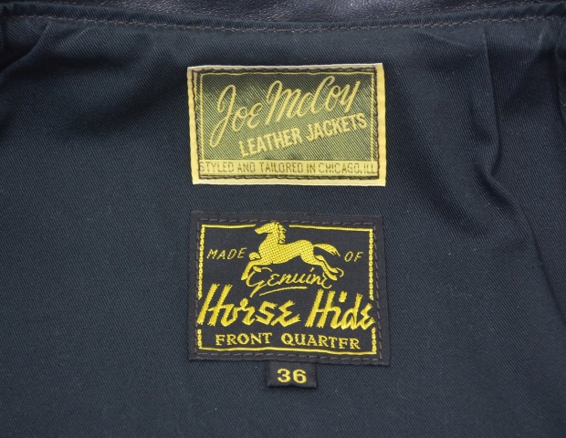JOE McCOY(乔麦科伊)30's SPORTS JACKET运动外套MJ14152 BLACK 36黑色HORSE HIDE软管海德马皮革LEATHER皮革The REAL McCOY'S真实麦科伊