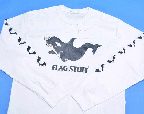 "F-LAGSTUF-F(旗帜工作人员) ""KILLER WHALE""L/S TEE kirahoerurongusuribu T恤17SS WHITE M白2017SS-FS-38 LONG SLEEVES T-SHIRTS朗T FLAGSTUFF旗帜工作人员LOGO标识"