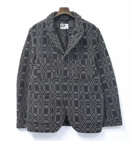 【中古】 ENGINEERED GARMENTS (エンジニアードガーメンツ) Bedford Jacket - Wool Block Dobby ベッドフォードジャケット ウールブロックドビー Grey/Black M グレー/ブラック Tailoredo テーラード Work ワーク Coverall カバーオール 総柄 幾何学模様