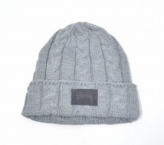 3aa44a89a52 STUSSY (ステューシー) MATTHEW CUFF BEANIE Matthew caph beanie GRAY gray CABLE KNIT  CAP cable knitting knit cap WATCH ワッチウォッチ ALAN alane LOGO logo hat