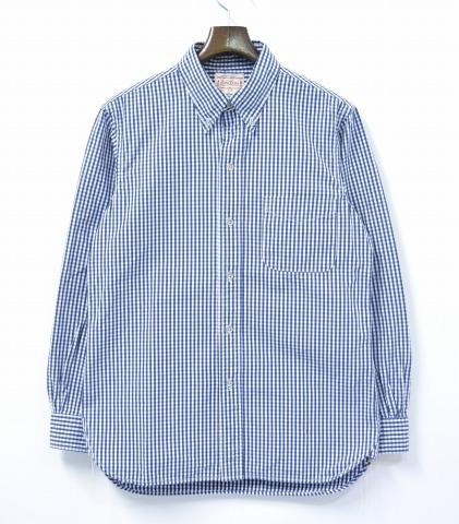 【中古】 BONCOURA (ボンクラ) GINGHAM BUTTON DOWN SHIRT ギンガムチェック ボタンダウンシャツ 14SS NAVY/WHITE 38 ネイビー/ホワイト CHECK SHIRTS BD B.D BROAD ブロード
