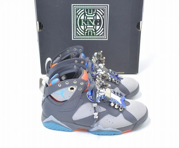 b0933e7c035 KiNG (King) JORDAN7 II+ GS Jordan 7 custom sneakers US9 27cm GREY X BLUE  NIKE Nike AIR JORDAN 7 Air Jordan 7 AJ7 shoes shoes