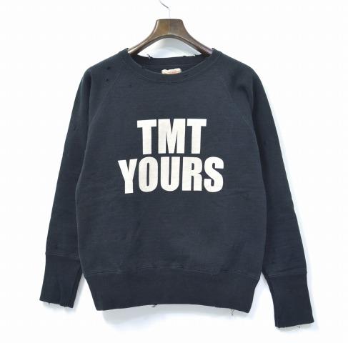 【中古】 TMT (ティーエムティー) ダメージ加工 TMT YOURS ロゴスウェット BLACK S ブラック BIG 3 DAMAGE CREWNECK SWEAT クルーネック PULLOVER プルオーバー CLASH クラッシュ