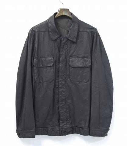 【中古】RICK OWENS (リックオウエンス) ラムレザーシャツジャケット BLACK M LEATHER SHIRT JACKET