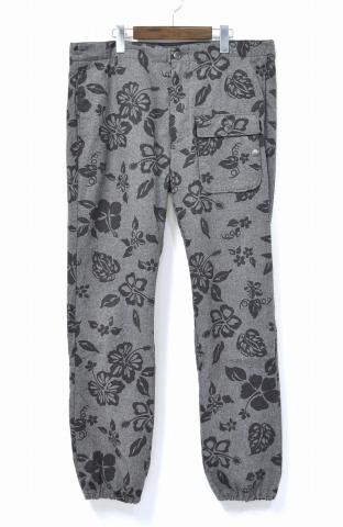 【中古】 ENGINEERED GARMENTS (エンジニアードガーメンツ) Lafayette Pant - Grey Hawaiian Printed Flannel ラファイエットパンツ ハワイアンプリンテッド フランネル M グレー 花柄 Wool/Cashmere ウール/カシミヤ カシミア Trousers トラウザー Pants
