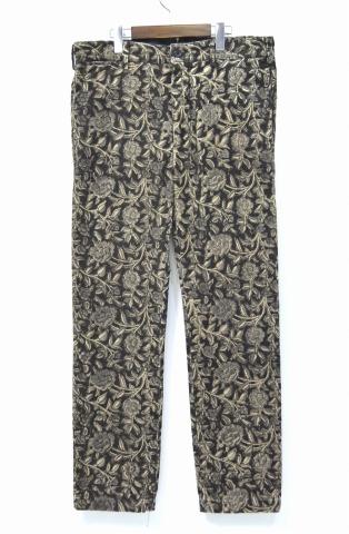 【中古】 ENGINEERED GARMENTS (エンジニアードガーメンツ) Cinch Pant - Floral Printed Corduroy シンチ パンツ フローラルプリンテッドコーデュロイ BLACK 34 ブラック 花柄 Buckle シンチバックル 尾錠 Trousers トラウザーズ Pants