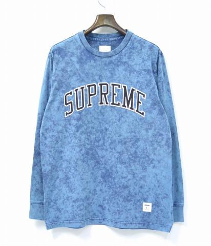 【中古】 SUPREME (シュプリーム) Acid Wash Arc Logo L/S Tee アシッドウォッシュアーチロゴロングスリーブTシャツ L BLUE 17SS ロンT 長袖 カットソー