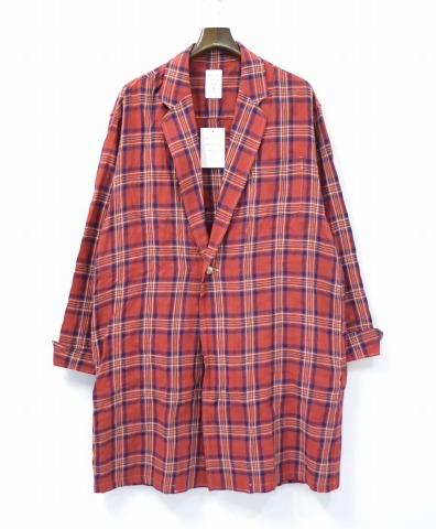 【新品】 Mr.GENTLEMAN (ミスタージェントルマン) CHECK GOWN SHIRT チェックガウンシャツ シャツコート 長袖シャツ ショップコート コンチョボタン フランネルチェックシャツ 長袖ネルシャツ RED MGI-SH12 M MADE IN JAPAN