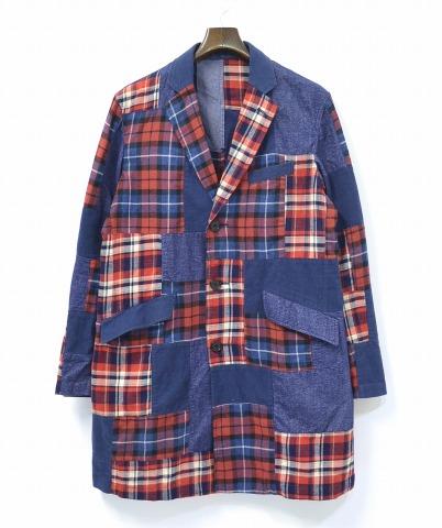 【中古】 BEAMS (ビームス) ネップパッチワーク チェスターコート RED M レッド NEP PATCHWORK CHESTER COAT CHECK チェック SHOP COAT ショップコート