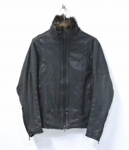 【中古】 SHELLAC (シェラック) COW LEATHER JACKET カウレザージャケット 48 BLACK BLOUSON ブルゾン