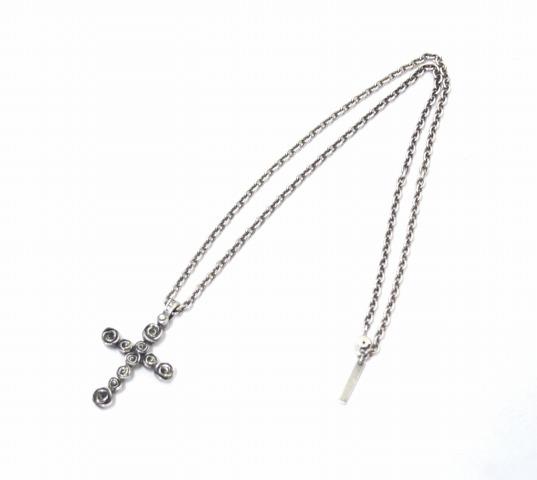 【中古】 PUERTA DEL SOL (プエルタ・デル・ソル) ローズクロスネックレス FREE SILVER NECKLACE バラ 薔薇 ダイヤモンド