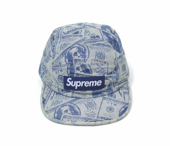 Product made in SUPREME (シュプリーム) 100 Dollar Bill Camp Cap hundred jacquard  camping cap FREE BLUE 17AW BOX LOGO box logo hat 5PANEL 5 panel MADE IN USA  ... 0e39bcddf