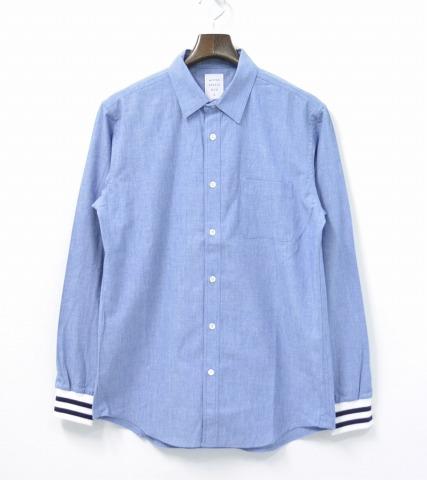 【新品】 Mr.GENTLEMAN (ミスタージェントルマン)LINE RIB SHIRT ラインリブシャツ 長袖シャツ BLUE MGI-SH01 L シャンブレーシャツ デニム MADE IN JAPAN