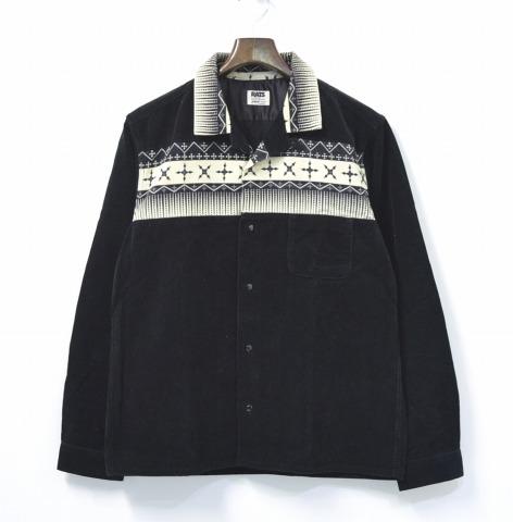 【中古】 RATS (ラッツ) CORDUROY PRINT SHIRT コーデュロイネイティブプリントシャツ M BLACK 長袖 オープンカラー 開襟