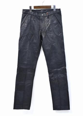 【新品】 SPLOTCH of ink (スプロッチ オブ インク) Leather Pants カウレザーパンツ M BLACK