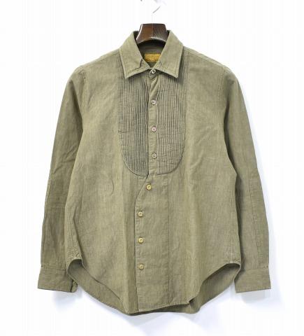 【中古】 BROWN by 2-tacs (ブラウン バイ ツータックス) A-line pin tack Aラインピンタックシャツ S KHAKI 長袖 SHIRT