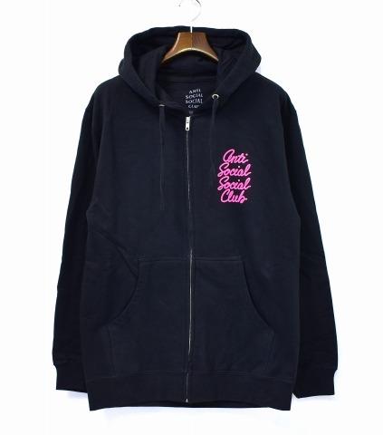 【新品】 ANTI SOCIAL SOCIAL CLUB (アンチソーシャルソーシャルクラブ) Options Black Zip Hoodie 筆記体フルロゴプリント ジップフーディー 17AW M ブラック Full Logo Print Sweat Parka スウェットパーカー MADE IN USA アメリカ製 米国 ASSC
