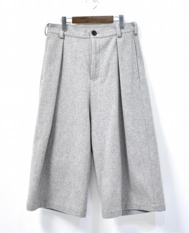 【新品】juha (ユハ) WIDE CROPPED PANTS ワイドクロップドパンツ 15AW 1 Gray グレー LIGHT MELTON ライトメルトン TROUSERS トラウザーズ TUCK タック