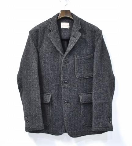 【中古】 BONCOURA (ボンクラ) Wool / Cashmere Tailored Jacket ウールカシミヤ テーラードジャケット 15AW 38 Grey グレー W DOUBLE FACE TWEED ダブルフェイスツイード HERRINGBONE ヘリンボーン 3B BUTTON 3つボタン 三つ釦 カシミア テイラード BLAZER ブレザー