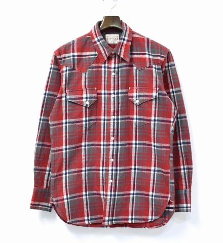 【中古】 BONCOURA (ボンクラ) Flannel Western Shirt フランネルウエスタンシャツ 38 RED レッド Check Shirts チェック Vintage Fabric ヴィンテージファブリック Selvedge セルビッチ 耳