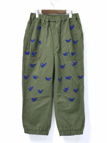 【新品】 Nothing Special (ナッシングスペシャル) Embroidery Easy Pants Olive エンブロイ イージーパンツ 刺繍&フェルト M