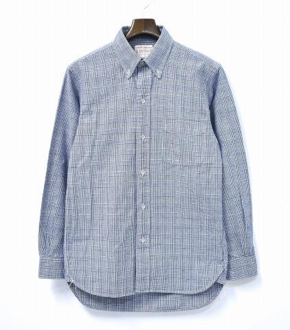 【中古】 BONCOURA (ボンクラ) Indigo Glen Check BD Shirts インディゴグレンチェック ボタンダウンシャツ 38 B.D. Button Down Deadstock デッドストック Vintage Fabric ヴィンテージファブリック