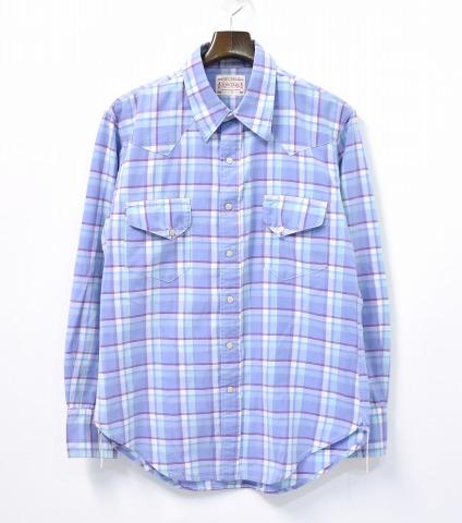 【中古】 BONCOURA (ボンクラ) Western Shirt ウエスタンシャツ 38 Lavender ラベンダー Check Shirts チェック