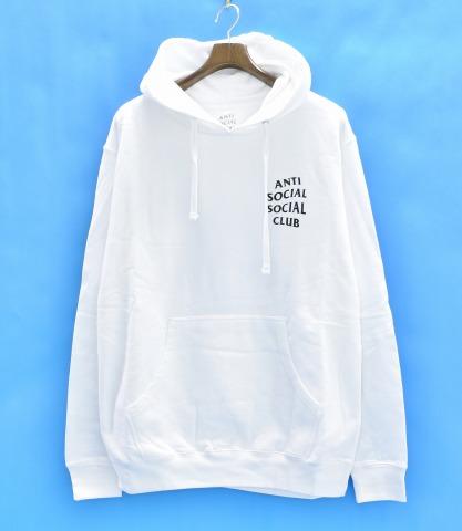 【新品同様】【訳あり】 ANTI SOCIAL SOCIAL CLUB (アンチソーシャルソーシャルクラブ) MASOCHISM HOOD フルロゴプリントフーディー M WHITE 17SS ASSC プルオーバースウェットパーカー LOGO PRINT PULLOVER SWEAT PARKA HOODIE 【中古】
