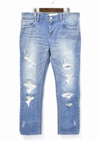 【中古】 PHENOMENON (フェノメノン) CRASH SKINNY PANTS クラッシュスキニーパンツ 32/L INDIGO DENIM デニム JEANS ジーンズ STRETCH ストレッチ