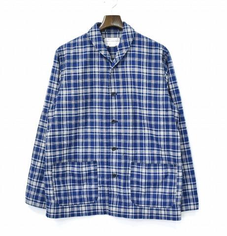 【中古】 WORKERS K&T H MFG Co. (ワーカーズ) Shawl Collar Jacket, Cotton Linen Indigo Check ショールカラージャケット コットンリネン インディゴチェック 17SS 38 Coverall カバーオール ワークジャケット FRENCH フレンチ 6oz 6オンス