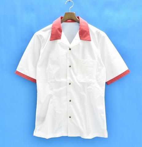【新品】 ISAMU KATAYAMA BACKLASH (イサムカタヤマバックラッシュ) ボーリングシャツ L WHITE×RED S/S SHIRT 半袖 ボウリングシャツ ロゴプリント シープレザーポケット