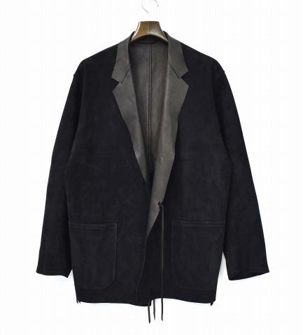 【中古】 COMOLI (コモリ) Sheep Suede Jacket シープスエード ジャケット 18SS 3 BLACK ブラック M01-01004 Leather レザー Tailored テーラード Cardigan カーディガン 羽織り スウェード 羊革