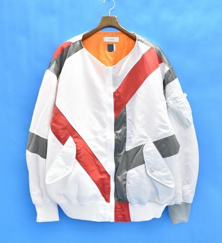 【新品】 FACETASM (ファセッタズム) BUG HOOLLIGUN MA-1 MA-1ジャケット 00 WHITE×LIGHT GRAY 18SS RB-JK-M01 長袖 フライトジャケット ナイロンジャケット ノーカラー 切り替え