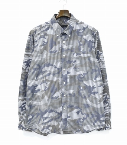7eb75aa1b10bc3 SOPHNET. (ソフネット) CAMOUFLAGE OVER PRINT STRIPE B.D SHIRT camouflage over  print stripe button-down shirt XL ALL CAMO (NAVY STRIPE) oar duck navy  stripe ...