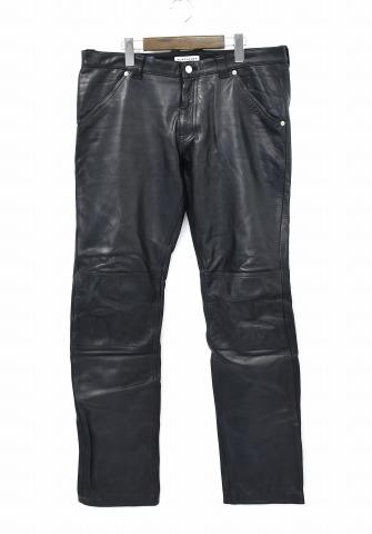 【中古】 F-LAGSTUF-F×BLACKMEANS (フラッグスタッフ×ブラックミーンズ) LEATHER PANTS レザーパンツ XXL BLACK 16AW 2016AW-FS-13 FLAGSTUFF フラグスタッフ black means