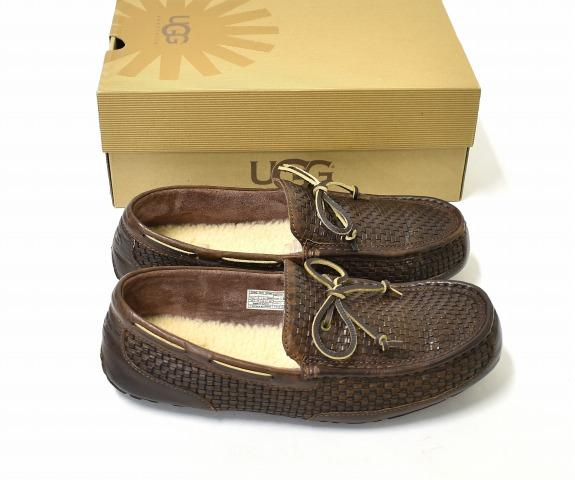 【中古】 UGG (アグ) M CHESTER WOVEN メンズチェスターウーブン US11 29cm COGNAC 1007887 モカシン スリッポン ローファー 編みこみレザー ボア シューズ 靴