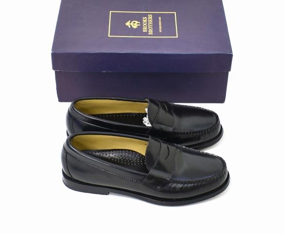 【中古】 BROOKS BROTHERS (ブルックスブラザーズ) ペニーローファー 8D BLACK コインローファー レザーシューズ 靴