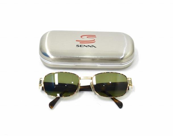 【中古】 SENNA (セナ) スクエア型サングラス BROWN×GOLD×GREEN 2060 Ayrton Senna アイルトン・セナ SQUARE SUNGLASSES 眼鏡 メガネ